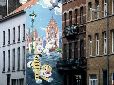 Fassade mit Comic